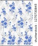 seamless textile flower border | Shutterstock . vector #1270730845