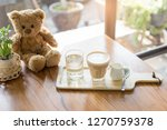 cappuccino coffee in glass on... | Shutterstock . vector #1270759378