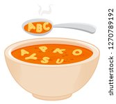 bowl of alphabet pasta soup and ... | Shutterstock .eps vector #1270789192