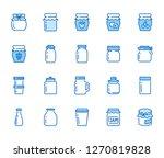 bottle of jam flat line icons....