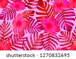pink red exotic pattern.... | Shutterstock .eps vector #1270832695