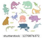 dino characters. cute funny... | Shutterstock .eps vector #1270876372