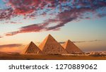 sunset at the pyramids  giza ... | Shutterstock . vector #1270889062