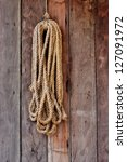 Hemp Rope Coiled Hang On Wood...