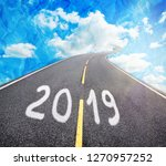 road to new 2019 year  goals... | Shutterstock . vector #1270957252