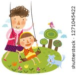 mother an daughter playing in...   Shutterstock .eps vector #1271045422