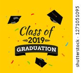 black graduate caps and... | Shutterstock .eps vector #1271051095