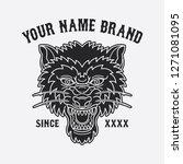 wolf head tattoo design  vector ... | Shutterstock .eps vector #1271081095