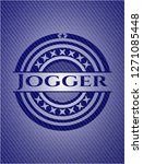 jogger emblem with denim texture | Shutterstock .eps vector #1271085448