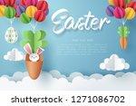 paper art of bunny in carrot... | Shutterstock .eps vector #1271086702