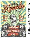 karaoke vintage poster with... | Shutterstock . vector #1271101135