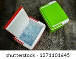 top view of picnic cooler box... | Shutterstock . vector #1271101645