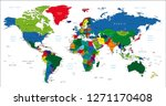 world map colorful | Shutterstock .eps vector #1271170408