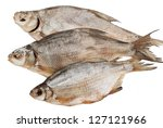 Dried fish on a white background - stock photo