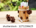 home made crafted pencil case... | Shutterstock . vector #1271238625
