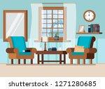 cozy home living room interior... | Shutterstock .eps vector #1271280685