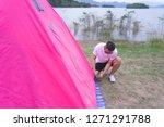 an asian man in white t shirt...   Shutterstock . vector #1271291788