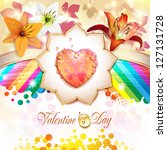 valentine's day card with... | Shutterstock . vector #127131728