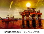 oil rig in the dramatic scenery. | Shutterstock . vector #127132946
