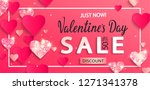 valentines day sale banner with ... | Shutterstock .eps vector #1271341378