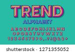 colorful chisel style alphabet... | Shutterstock .eps vector #1271355052