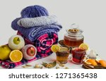 warm healthy teas of herbal and ... | Shutterstock . vector #1271365438