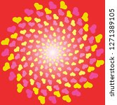 whirl of hearts greeting card... | Shutterstock .eps vector #1271389105