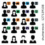 vector black people icons set... | Shutterstock .eps vector #127139108