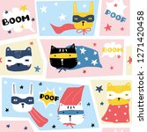 funny seamless pattern with...   Shutterstock .eps vector #1271420458