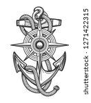 anchor with ropes and nautical... | Shutterstock . vector #1271422315