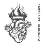 sacred heart drawn in engraving ... | Shutterstock . vector #1271483062