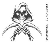 skull in a hood with scythe... | Shutterstock . vector #1271483455