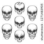 human skulls set drawn in... | Shutterstock . vector #1271483905
