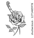 tattoo of rose flower piersed... | Shutterstock . vector #1271485978