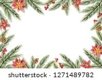 watercolor christmas frame with ... | Shutterstock . vector #1271489782