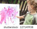 toddler boy  child  drawing ... | Shutterstock . vector #127149938