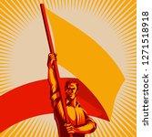 man holding blank flag vector... | Shutterstock .eps vector #1271518918