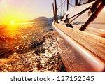 Yacht Sailing Against Sunset....