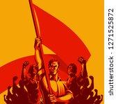 man holding blank flag in front ...   Shutterstock .eps vector #1271525872