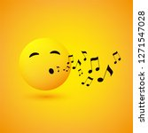 singing or whistling emoticon ... | Shutterstock .eps vector #1271547028