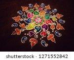 beautiful rangoli filled with... | Shutterstock . vector #1271552842