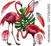 watercolor tropical wildlife ... | Shutterstock . vector #1271561002