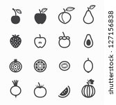 fruits and vegetables icons...