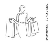 woman with shopping bags... | Shutterstock .eps vector #1271594302