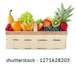fruits in a basket against... | Shutterstock . vector #1271628205