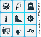 religion icons set with tower ... | Shutterstock .eps vector #1271655958