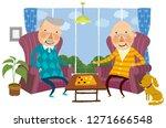 two elderly man playing indoor... | Shutterstock .eps vector #1271666548