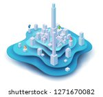 abstract 3d isometric city map... | Shutterstock .eps vector #1271670082