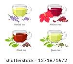 set of different tea in glass... | Shutterstock .eps vector #1271671672