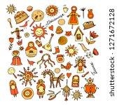 maslenitsa or shrovetide. icons ... | Shutterstock .eps vector #1271672128
